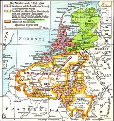 - German map of the Netherlands European Map, European History, World History, Family History, Vintage Maps, Antique Maps, Netherlands Map, Spanish Netherlands, Holland Map