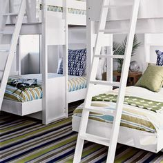 Compromise with the kids by creating an upscale bunkroom with the sophisticated colors and prints you love combined with the fun beds they'll love. This modern update on the classic bunk bed style is more sculptural, yet sturdy and compact with plenty of