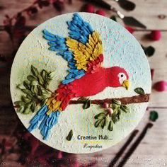 Beautiful Macaw parrot with Little Birdie sculpture paste Canvas Art Projects, Clay Art Projects, Sculpture Projects, Plaster Sculpture, Sculpture Painting, Abstract Sculpture, Clay Wall Art, Plate Art, Mural Art