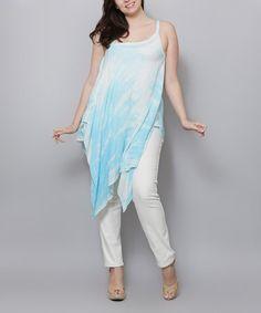 Look at this #zulilyfind! Aqua Tie-Dye Sidetail Tunic - Plus #zulilyfinds