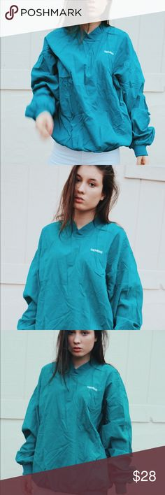 Vintage Unisex Teal WindBreaker Vintage Teal Wind Breaker  Size:Large 2nd image is most accurate color Jackets & Coats Windbreakers