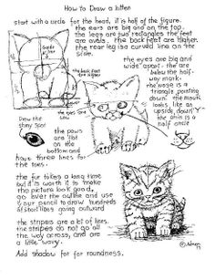 How to Draw Worksheets for The Young Artist: How To Draw A Kitten Worksheet