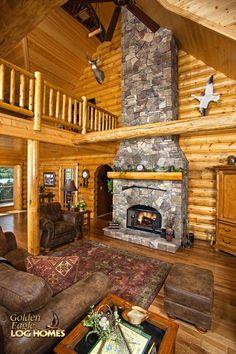 Log Home By Golden Eagle Log Homes - Great Room