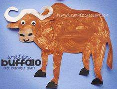 Water Buffalo Printable Craft | LearnCreateLove.com - Endangered Animal Unit