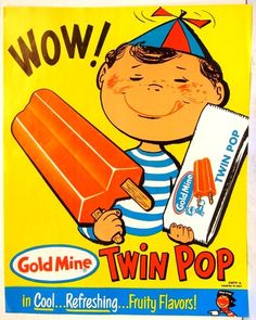 GOLD MINE Twin Pop popsicle 1950's ICE CREAM PARLOR truck SIGN POSTER vintage
