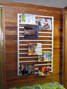Upcycle crib railing for work book, craft books  or kids book display homeschool, classroom, kids room