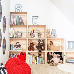 DIY Crate Bookcase - Maison de Pax Create an adorable reading and play room for. DIY Crate Bookcase - Maison de Pax Create an adorable reading and play room for kids with this diy wood crate bookcas Crate Bookcase, Bookshelf Diy, Bookshelves Kids, Kids Bedroom Organization, Organization Ideas, Playroom Organization, Playroom Ideas, Storage Ideas, Reading Nook Kids