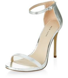 Silver Leather Ankle Strap Heels  | New Look