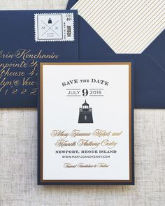Nautical Save the Date, Navy and Gold Save the Date, Lighthouse Save the Date, Gold Foil #nauticalwedding #nauticalsavethedate