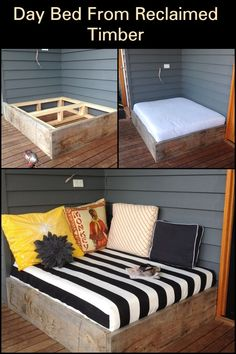 Make a day bed from reclaimed timber Outdoor Ideas, Outdoor Spaces, Outdoor Living, Outdoor Decor, Wood Furniture, Outdoor Furniture, Dog Yard, Comfy Chair, Reclaimed Timber