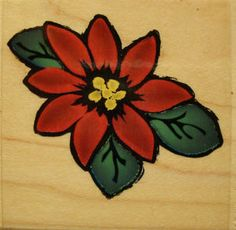 Poinsettia F1035 Flower Botanical Christmas Bloom 1999 Mounted Rubber Stamp