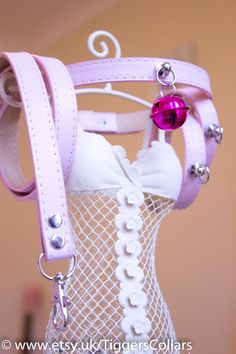 Baby Pink collar mini cuffs and matching lead by TiggersCollars