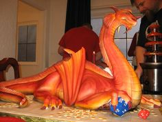 Fire-breathing dragon cake