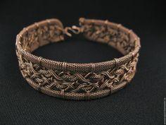 Купить Браслет Италия wire wrap медь - комбинированный, медный, медные украшения, браслет