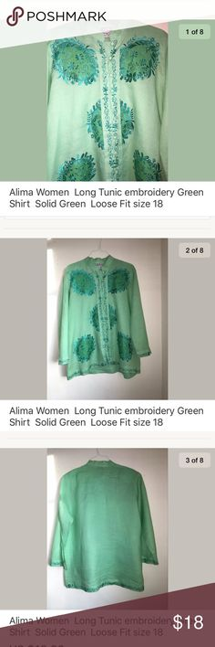 "Alima Women  Long Tunic embroidery Green SZ18 Alima Women  Long Tunic embroidery Green Shirt  Solid Green  Loose Fit size 18  ""Unique Design Tunic"" Perfect for the summer!  Descriptions:  Brand- Alima  Tag Size- 18 ""Small stain on sleeve, see last pic"" Color- Green, with deep green/Silver embroidery  Pet Free  Smoke Free  Measurements-  Shoulder to Shoulder-19""  Sleeve- 23""  Chest- 60""  Length- 30""  Hem- 28""  Thank You for Shopping at Chiqui's Spot  -Shipping  Item will ship within 1…"