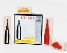 Gelbe Eule Workshop New Yorker Stamp Set Empire State von OHMYBUY