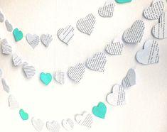 paper hearts garland, blue paper wedding banner, vintage printed paper teal wedding garland, 8ft handmade tiffany blue wedding shower decor
