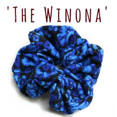Hair Scrunchie 80s 90s Hair Tie 'The Winona' Blue by FannyAdamsVC