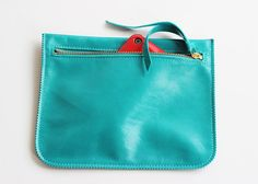ST TROPEZ - turquoise pouch, leather purse, small leather clutch