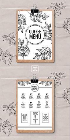 Coffee menu | Меню кофейни Menu Board Design, Cafe Menu Design, Food Menu Design, Restaurant Menu Design, Food Graphic Design, Coffee Shop Names, Coffee Shop Menu, Coffee Shop Business, Coffee Shop Design
