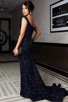Mermaid Off-shoulder Lace Navy Blue Prom Dress With Sequins  PG 235