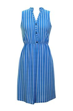 - 92% Polyester 8% Spandex - Made In China - This dress features a split neck collar with partial button placket front, sleeveless cut, vertical stripe print, elastic waist, and knee length. - Look an