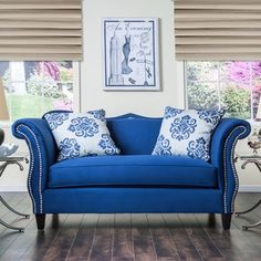 Furniture of America Othello Royal Blue Loveseat