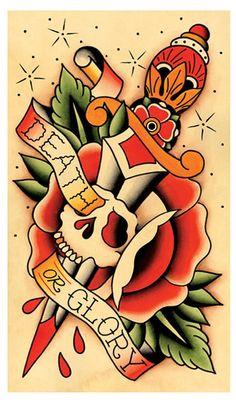 Teschio & Dagger morte o gloria Tattoo Flash di MissMartinTattoos