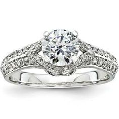 1 1/3ct Unique Diamond Antique Vintage Engagement Ring 14K White Gold Center Forever Brilliant Moissanite Included!