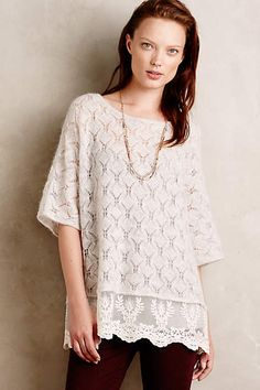 Lace-Trimmed Poncho