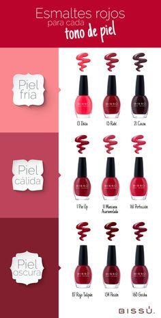 Escoge tus esmaltes en tonos rojos de acuerdo a tu tono de piel.