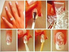 Bridal nails, or not necessarily, lace looks so chic and feminine ♥