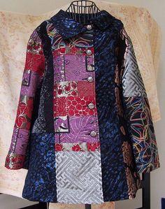 Lightweight patchwork design coat.