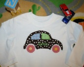 The VW Bug Car Applique Shirt- Brown Polka Dots with Name- Free Personalization