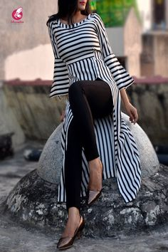 Rs1399, Buy this Black and White Stripes Crepe Kurti by Colorauction from www.colorauction.com #kurti #Crepe #white #ecommerce #colorauction