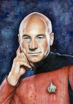 Captain Picard Star Trek Art Watercolor Painting Giclee Print Patrick Stewart Portrait Sci-Fi Art Illustration