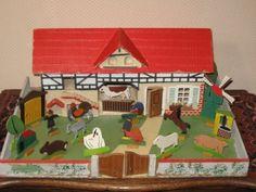 Antique 1930s Gottschalk German Farm with Ore Mountains Animals Doll House | eBay