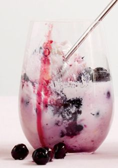 Lemon buttermilk panna cotta with blueberries.
