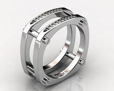 6530e8c7882b Hombre moderno italiano 14K oro blanco diamante anillo B1014-14KWGD Anillos  De Hombre Plata