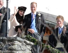 William, Kate and Harry at a wedding in Switzerland 2 March 2013