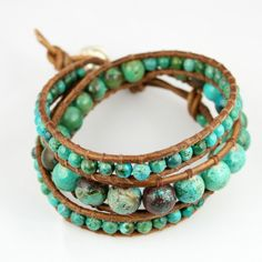 Turquoise and leather bracelet.