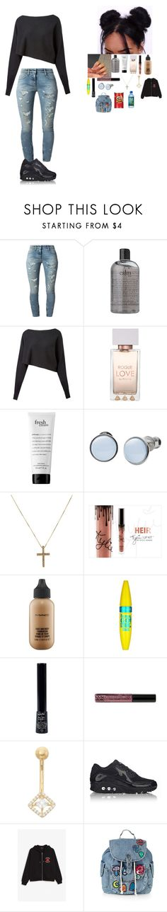"""~ school outfit ~"" by foodislyfe ❤ liked on Polyvore featuring Faith Connexion, philosophy, Crea Concept, Skagen, MAC Cosmetics, Maybelline, NYX, Gioelli, NIKE and Monki"