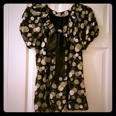 Adorable polka dot blouse This is such a cute, flowy top!  It's black with gray and white polka dots and a bow on the neckline. Apt. 9 Tops Blouses