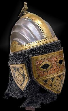 Ethnographic Arms & Armour - Sindhi helmet with face guard - hełm tatarski XV wiek. Sindhi are a Sindhi-speaking ethnic group native to the Sindh province, of Pakistan Ancient Armor, Medieval Armor, Arm Armor, Body Armor, Warrior Helmet, Viking Helmet, Armadura Medieval, Knight Armor, Historical Artifacts