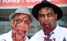 New Zealand All Blacks rugby players Cory Jane (L) and Julian Savea, dressed as zombies, pose on the first day of the Wellington Sevens rugby union tournament at Westpac Stadium in Wellington Wellington Sevens, Big Garden Birdwatch, All Blacks Rugby, Super Rugby, 31st January, Rugby Players, Zombies, Poses, History