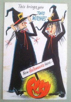 Vintage 1950s-60s Hallmark Halloween Greeting Card,Two Witches,JOL,Fun Design