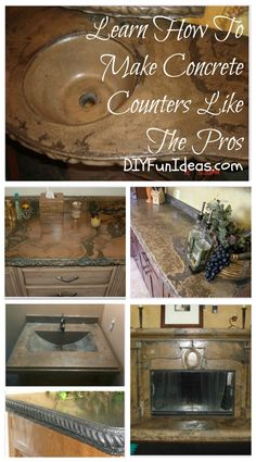 Learn HOW TO MAKE CONCRETE COUNTERS LIKE THE PROS! ........DIYFunIdeas.com