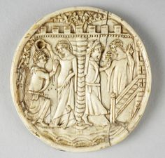 English                                Mirror cover: Scenes of lovers, 1340–60                Ivory