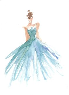 Limited edition 8.5 x 11 print of original watercolor fashion illustration of gown by Carol Hannah.