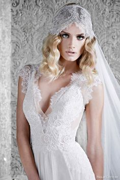 pallas couture wedding dresses 2015 audree nude coloured gown with slim skirt and french tulle skirt close up